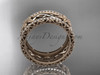14k rose gold diamond flower wedding band, engagement ring ADLR260B