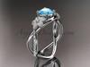 14kt white gold diamond leaf and vine birthstone ring ADLR90 Aquamarine - March\'s Birthstone. nature inspired jewelry