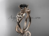 14kt rose gold celtic trinity knot engagement ring, wedding ring with a Black Diamond center stone CT770