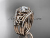 14kt rose gold diamond celtic trinity knot wedding ring, engagement ring with a double matching band CT7131S