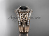 14kt rose gold diamond celtic trinity knot wedding ring, engagement ring with a Black Diamond center stone and double matching band CT7131S