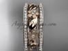 14k rose gold diamond flower wedding band, engagement ring ADLR233B