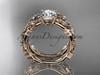 "14k rose gold diamond leaf and vine wedding ring, engagement set with  ""Forever One"" Moissanite center stone ADLR59S"
