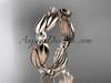 14k rose gold diamond leaf and vine wedding band, engagement ring ADLR58B