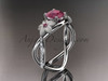 14kt white gold diamond leaf and vine birthstone ring ADLR90 Ruby - July\'s birthstone. nature inspired jewelry