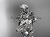 14k white gold diamond leaf and vine engagement ring, engagement set ADLR20S