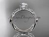 14k white gold diamond leaf and vine wedding ring,engagement ring ADLR353