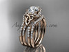 14kt rose gold diamond celtic trinity knot wedding ring, engagement ring with a double matching band CT7155S