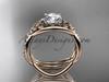 14kt rose gold celtic trinity knot engagement set, wedding ring CT790S