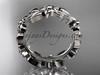 14kt white gold leaf wedding ring, engagement ring, wedding band ADLR316G