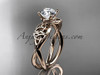 """14kt rose gold celtic trinity knot engagement ring, wedding ring with a """"Forever One"""" Moissanite center stone CT770"""