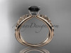 14kt rose gold celtic trinity knot wedding ring, engagement ring with a Black Diamond center stone CT7171