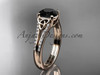 14kt rose gold celtic trinity knot engagement ring ,diamond wedding ring with a Black Diamond center stone CT7108