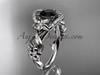 14k white gold flower diamond unique engagement ring with a Black Diamond  center stone ADLR211