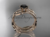 14k rose gold leaf and vine wedding ring, engagement set with a Black Diamond center stone ADLR343S