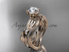 "14k rose gold diamond leaf and vine wedding ring set, engagement ring set with  ""Forever One"" Moissanite center stone ADLR31S"