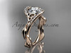 "14kt rose gold celtic trinity knot engagement ring , wedding ring with ""Forever One"" Moissanite center stone CT764"