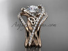 """14kt rose gold diamond celtic trinity knot wedding ring, engagement ring with a """"Forever One"""" Moissanite center stone and double matching band  CT7369S"""