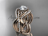 14kt rose gold celtic trinity knot engagement ring, wedding ring with double matching band CT790S