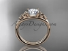 """14kt rose gold celtic trinity knot wedding ring, engagement ring with a """"Forever One"""" Moissanite center stone CT7189"""