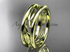 14kt yellow gold  leaf wedding band, engagement ring ADLR400G