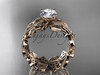 """14kt rose gold celtic trinity knot wedding ring, engagement  ring with a """"Forever One"""" Moissanite center stone CT7188"""