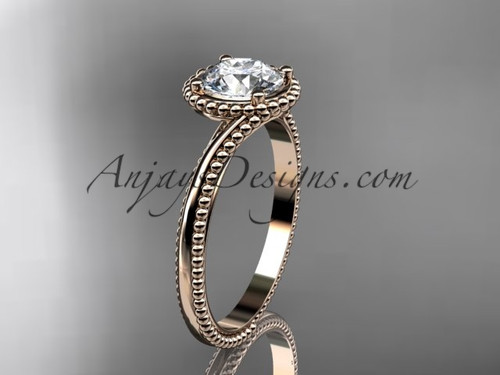 14kt rose gold  wedding ring, engagement ring ADLR389