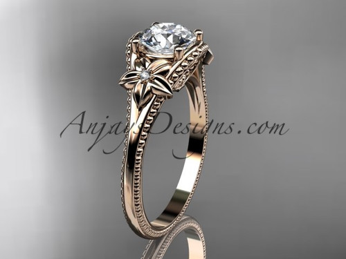"""14k rose gold diamond unique engagement ring with a """"Forever One"""" Moissanite center stone ADLR375"""