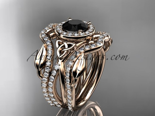 14kt rose gold celtic trinity knot engagement ring, wedding ring with a Black Diamond center stone and double matching band CT789S