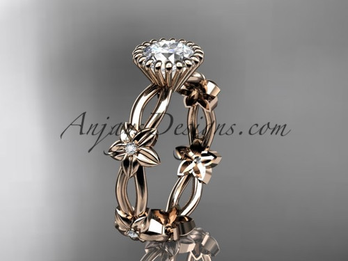 """14k rose gold diamond leaf and vine wedding ring,engagement ring with a """"Forever One"""" Moissanite center stone ADLR19D"""
