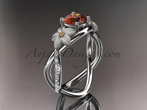 14kt white gold diamond leaf and vine birthstone ring ADLR90 Rhodolite Garnet - June\'s Birthstone. nature inspired jewelry