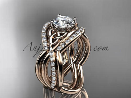 """14kt rose gold celtic trinity knot engagement ring, wedding ring with a """"Forever One"""" Moissanite center stone and double matching band CT790S"""