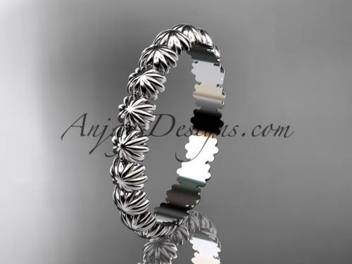 14k white gold wedding ring, engagement ring, wedding band ADLR42B