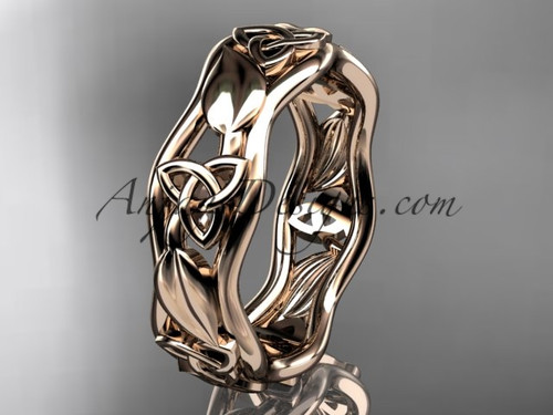 14kt rose gold celtic trinity knot engagement ring, wedding band CT7105B