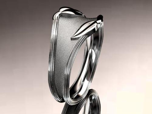 10kt white gold leaf and vine wedding ring,engagement ring,wedding band ADLR60