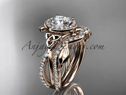 "14kt rose gold celtic trinity knot engagement set, wedding ring with a ""Forever One"" Moissanite center stone CT789S"