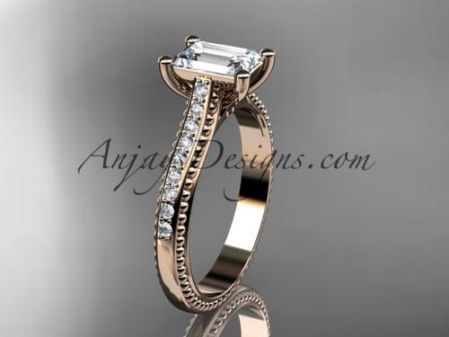 14kt rose gold diamond unique engagement ring, wedding ring ADER113