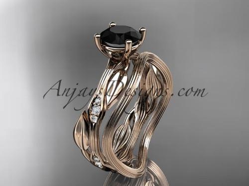 14k rose gold diamond leaf and vine wedding ring set, engagement ring set with  Black Diamond center stone ADLR31S