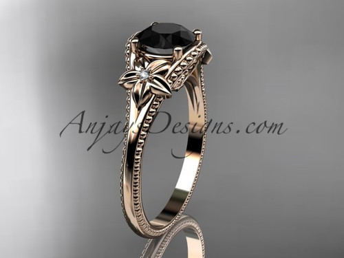 14k rose gold diamond unique engagement ring with a Black Diamond center stone ADLR375