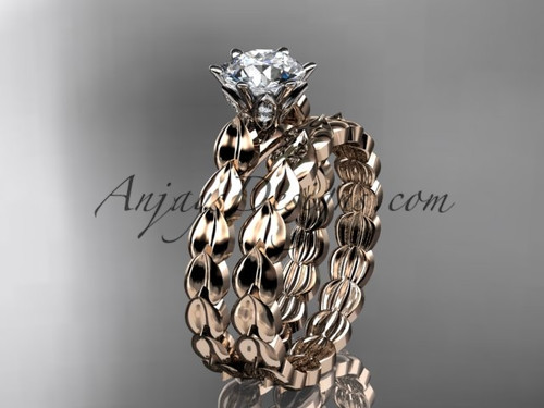 """14k rose gold diamond vine and leaf wedding ring, engagement set with a """"Forever One"""" Moissanite center stone ADLR35S"""