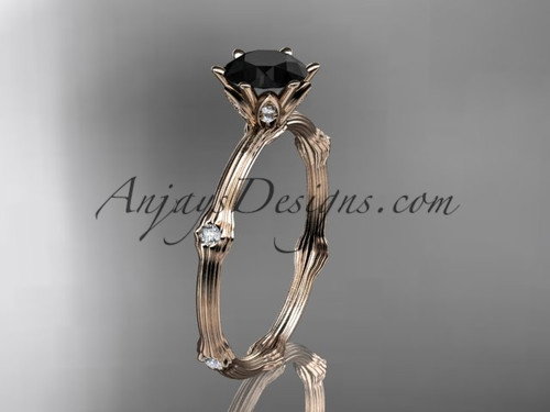 14k rose gold diamond vine and leaf wedding ring, engagement ring  with  Black Diamond center stone ADLR38