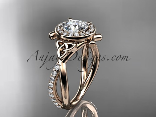 14kt rose gold celtic trinity knot engagement ring, wedding ring CT789