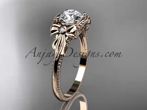 """14k rose gold diamond unique engagement ring with a """"Forever One"""" Moissanite center stone ADLR376"""