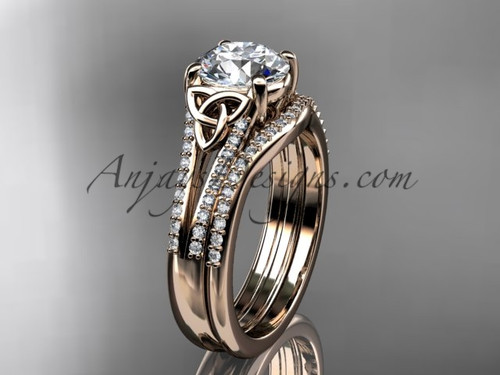 """14kt rose gold celtic trinity knot engagement ring ,diamond wedding ring, engagment set with a """"Forever One"""" Moissanite center stone CT7108S"""
