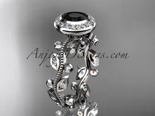 14k white gold diamond leaf and vine wedding ring, engagement ring with a Black Diamond center stone ADLR212