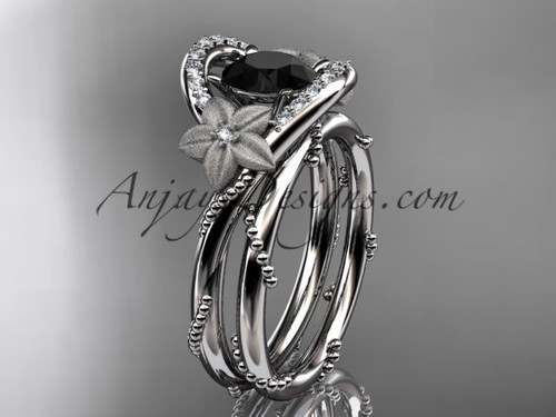 14kt white gold diamond unique engagement set with a Black Diamond center stone ADLR166S