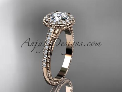 14kt rose gold diamond unique engagement ring, wedding ring ADER104