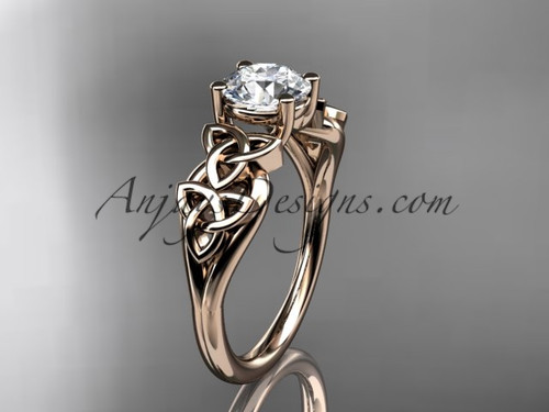 """14kt rose gold celtic trinity knot wedding ring, engagement ring with a """"Forever One"""" Moissanite center stone CT7169"""