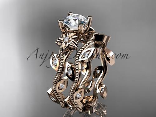 14k rose gold diamond leaf and vine wedding ring, engagement ring, engagement set ADLR151S
