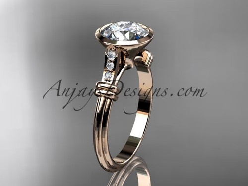 "14k rose gold diamond leaf and vine wedding ring,engagement ring with  ""Forever One"" Moissanite center stone ADLR23"